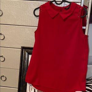 Mexx red rhinestone  collar sleeveless blouse